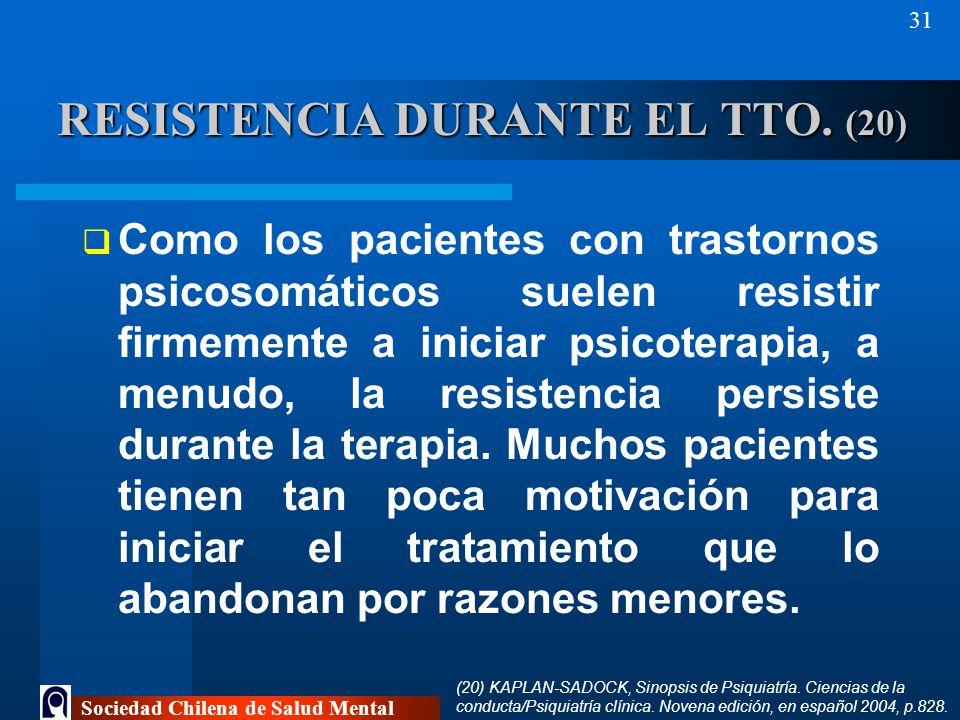 RESISTENCIA DURANTE EL TTO. (20)