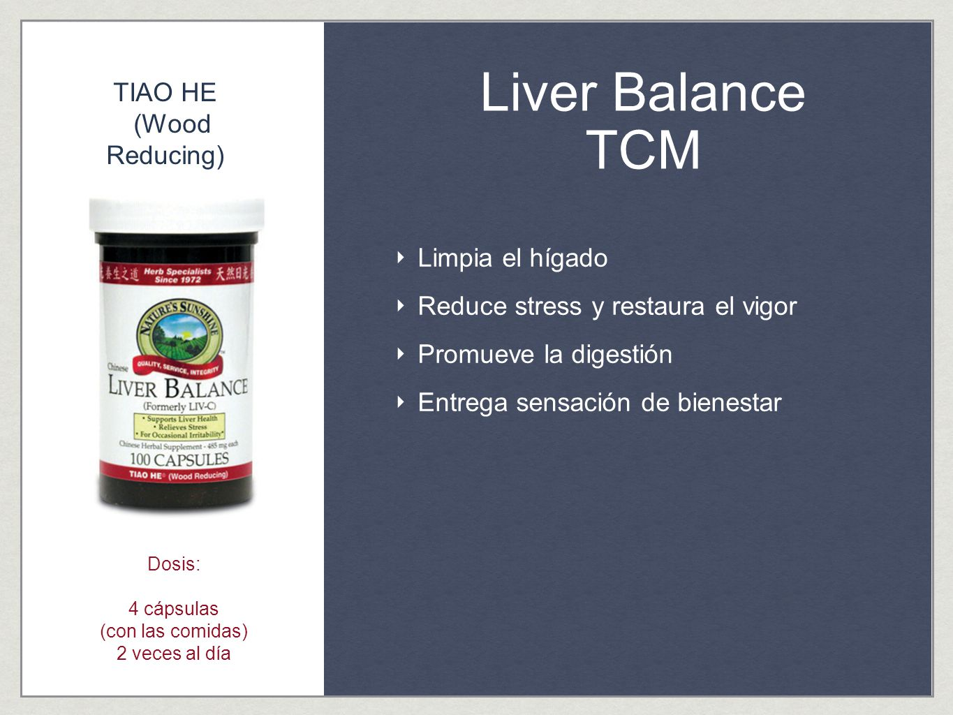 Liver Balance TCM TIAO HE (Wood Reducing) Limpia el hígado