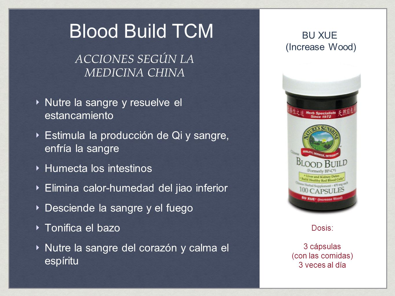 Blood Build TCM ACCIONES SEGÚN LA MEDICINA CHINA