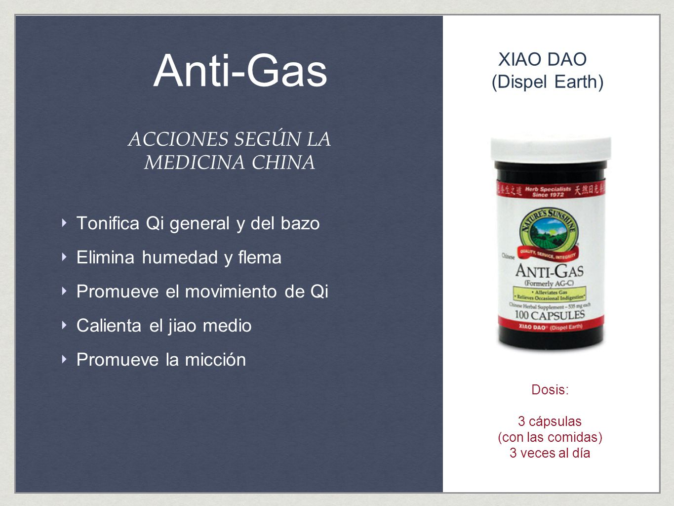 Anti-Gas ACCIONES SEGÚN LA MEDICINA CHINA XIAO DAO (Dispel Earth)