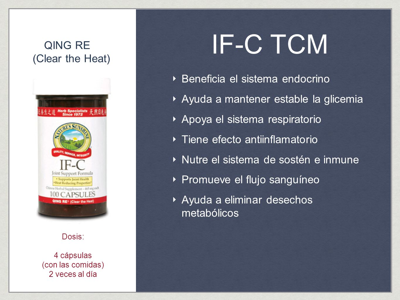 IF-C TCM QING RE (Clear the Heat) Beneficia el sistema endocrino