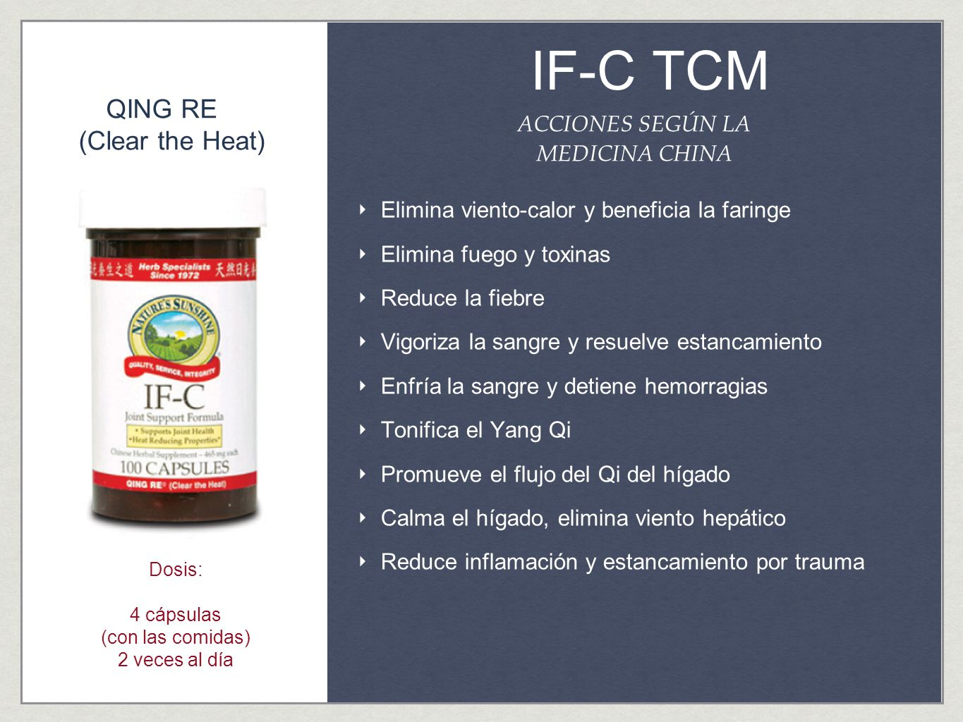 IF-C TCM QING RE (Clear the Heat) ACCIONES SEGÚN LA MEDICINA CHINA