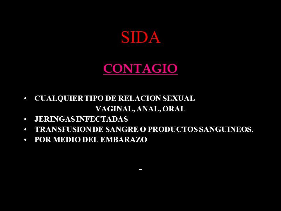 SIDA CONTAGIO CUALQUIER TIPO DE RELACION SEXUAL VAGINAL, ANAL, ORAL