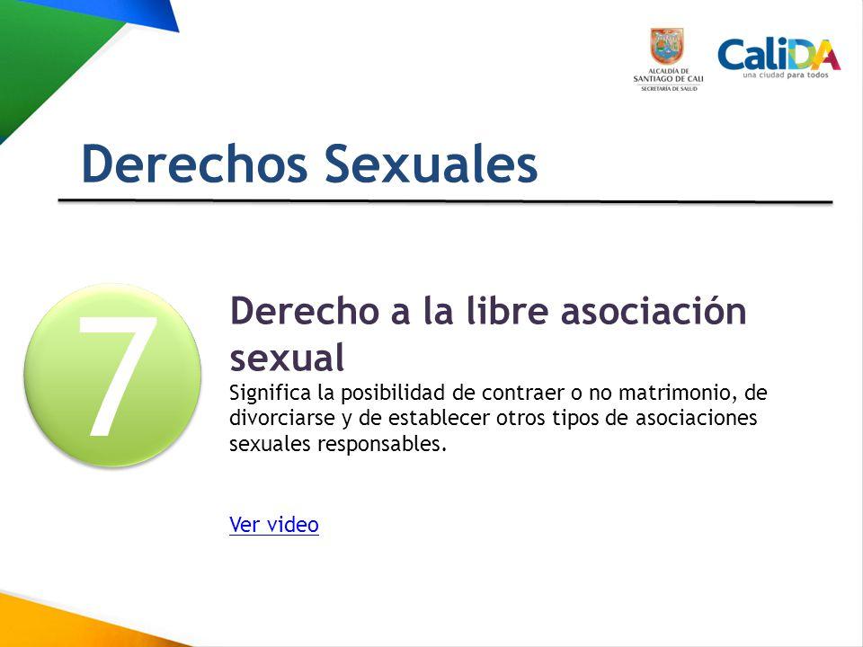 7 Derechos Sexuales Derecho a la libre asociación sexual