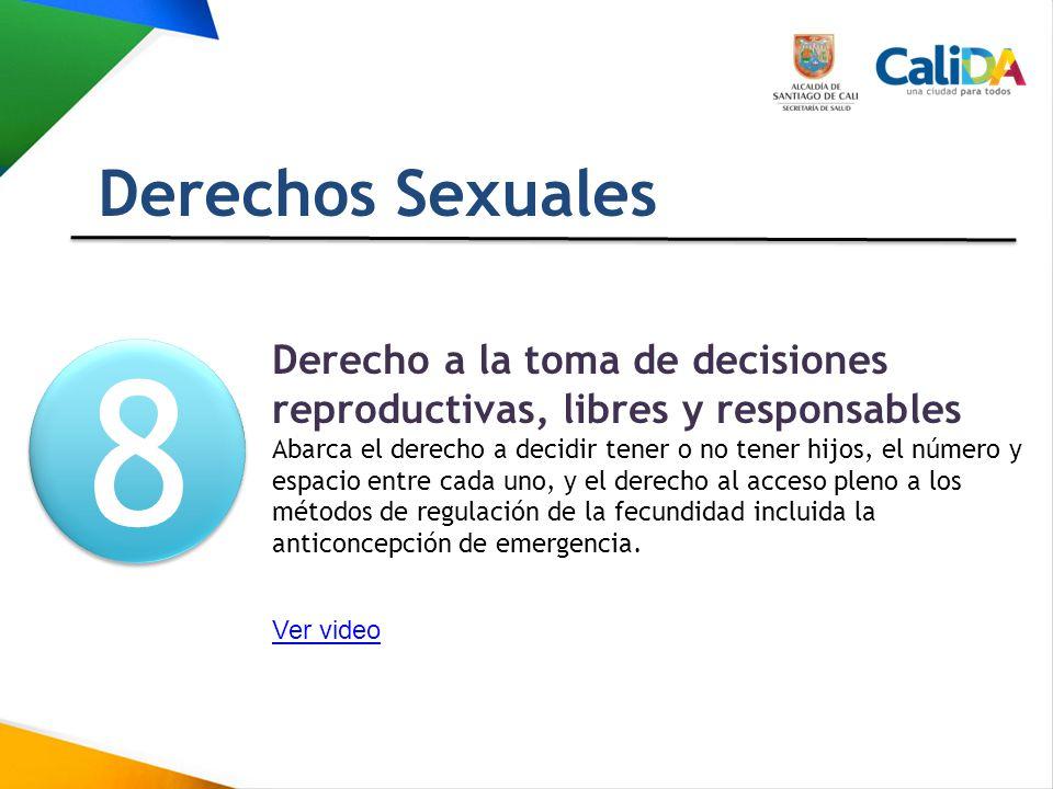 Derechos Sexuales 8. 8. Derecho a la toma de decisiones reproductivas, libres y responsables.
