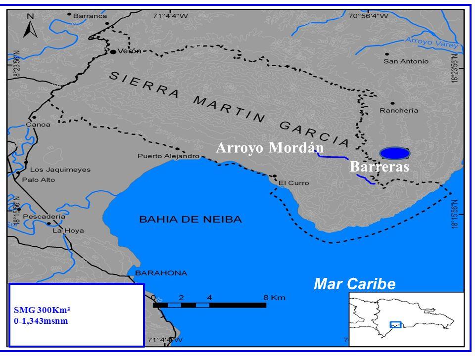 Arroyo Mordán Barreras Mar Caribe SMG 300Km² 0-1,343msnm