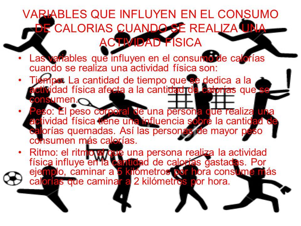 VARIABLES QUE INFLUYEN EN EL CONSUMO DE CALORIAS CUANDO SE REALIZA UNA ACTIVIDAD FISICA