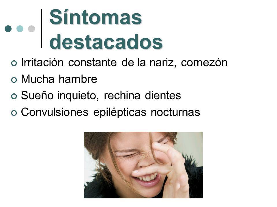 Síntomas destacados Irritación constante de la nariz, comezón
