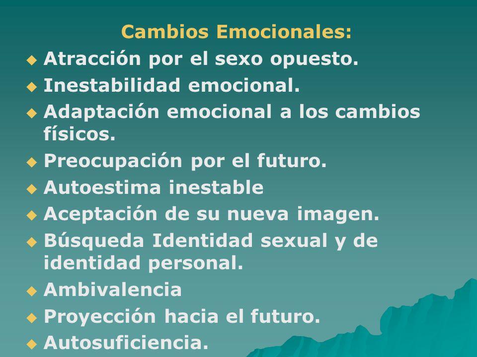 Cambios Emocionales: Atracción por el sexo opuesto. Inestabilidad emocional. Adaptación emocional a los cambios físicos.