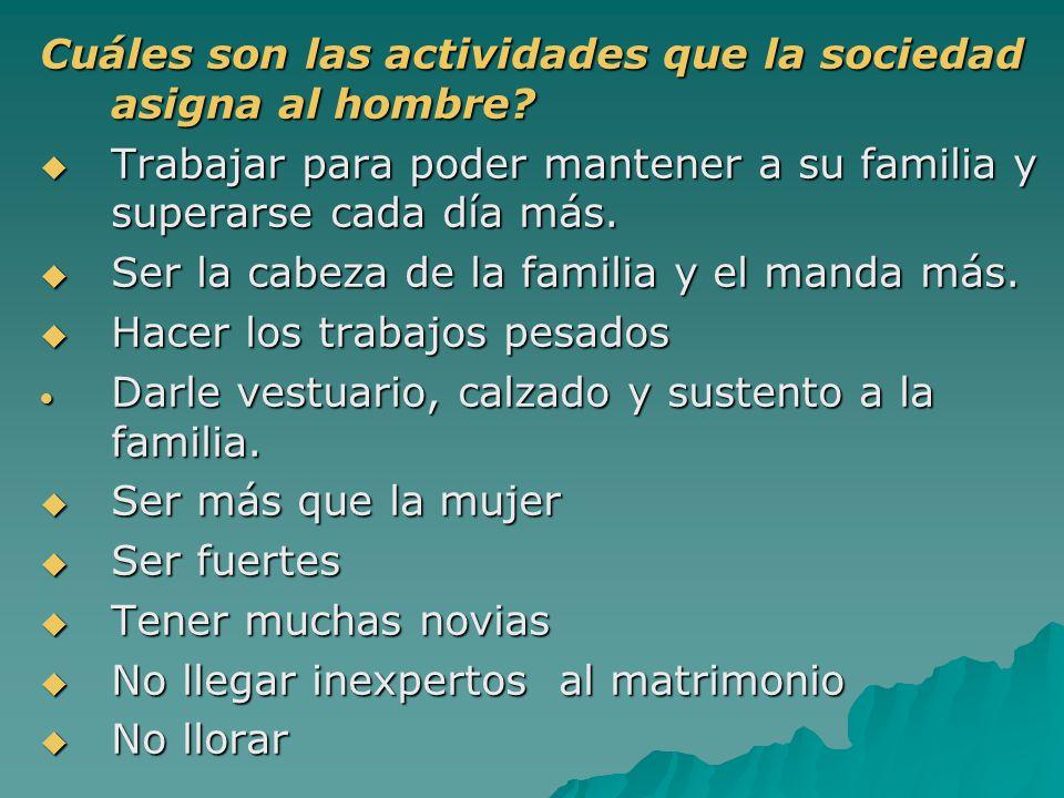 Cuáles son las actividades que la sociedad asigna al hombre