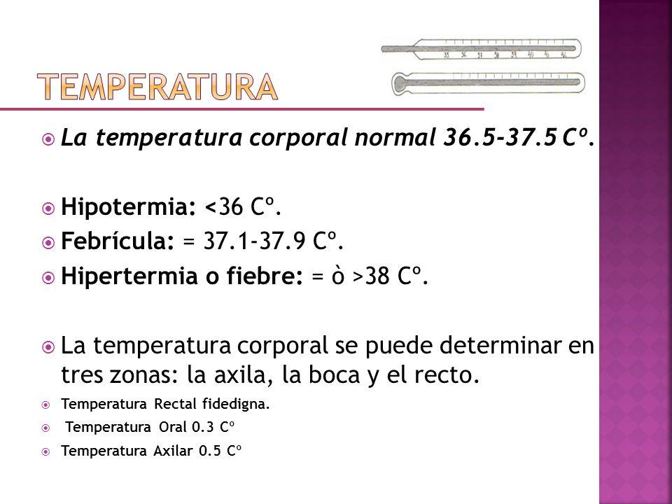 TEMPERATURA La temperatura corporal normal 36.5-37.5 Cº.