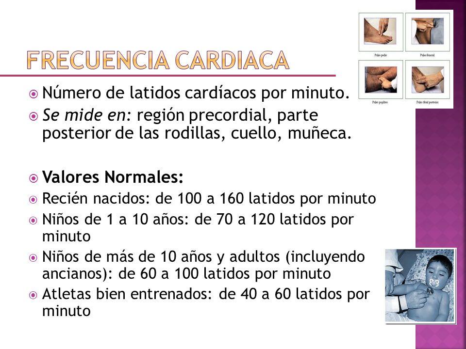 Frecuencia cardiaca Número de latidos cardíacos por minuto.