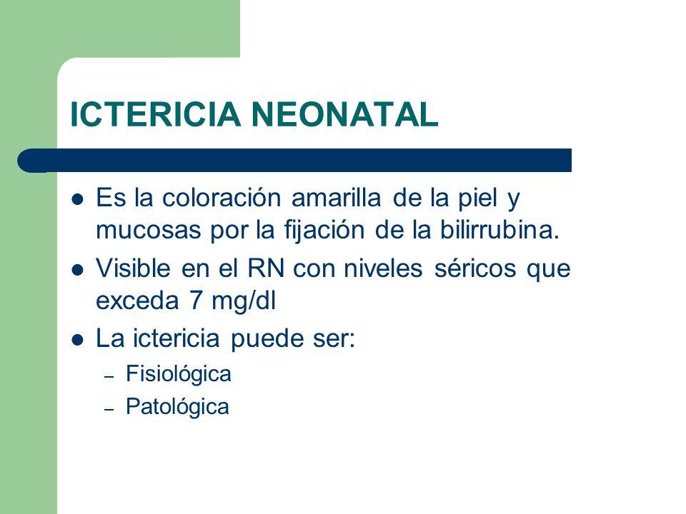ICTERICIA NEONATAL Es la coloración amarilla de la piel y mucosas por la fijación de la bilirrubina.