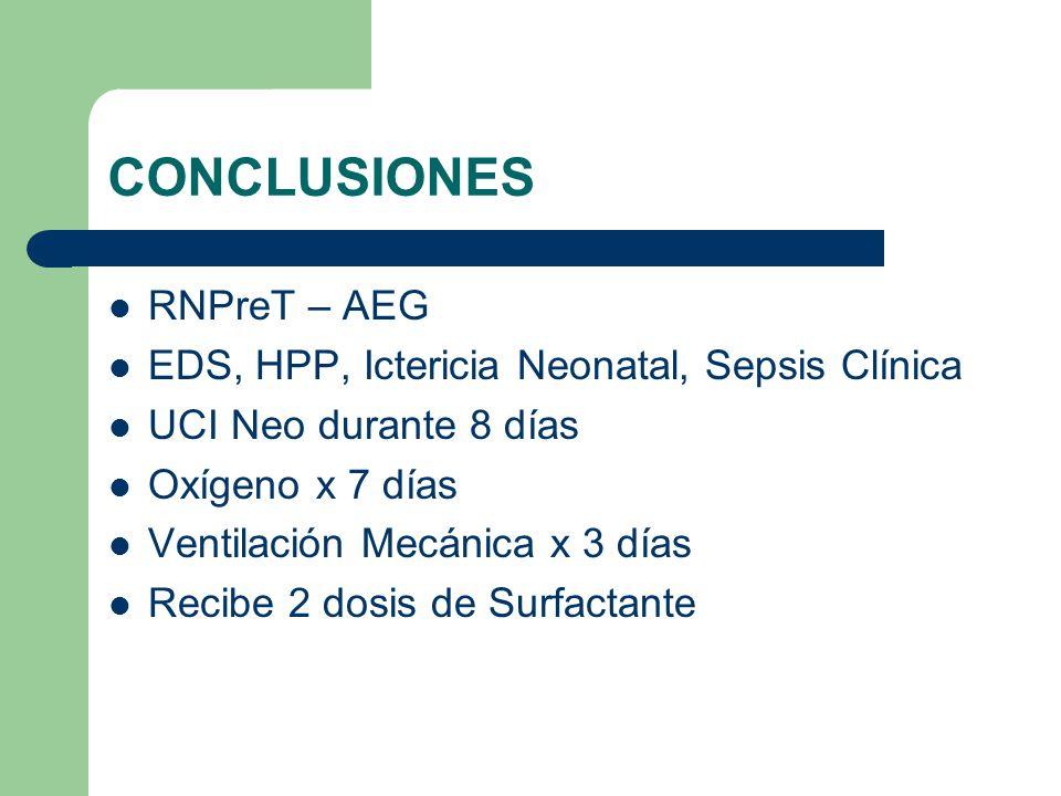 CONCLUSIONES RNPreT – AEG EDS, HPP, Ictericia Neonatal, Sepsis Clínica