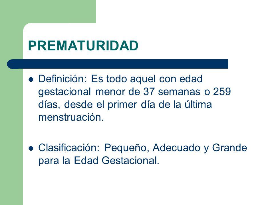 PREMATURIDAD Definición: Es todo aquel con edad gestacional menor de 37 semanas o 259 días, desde el primer día de la última menstruación.