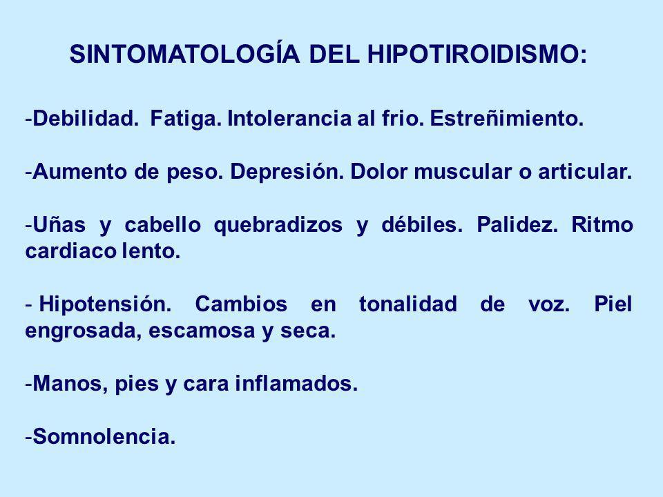 SINTOMATOLOGÍA DEL HIPOTIROIDISMO: