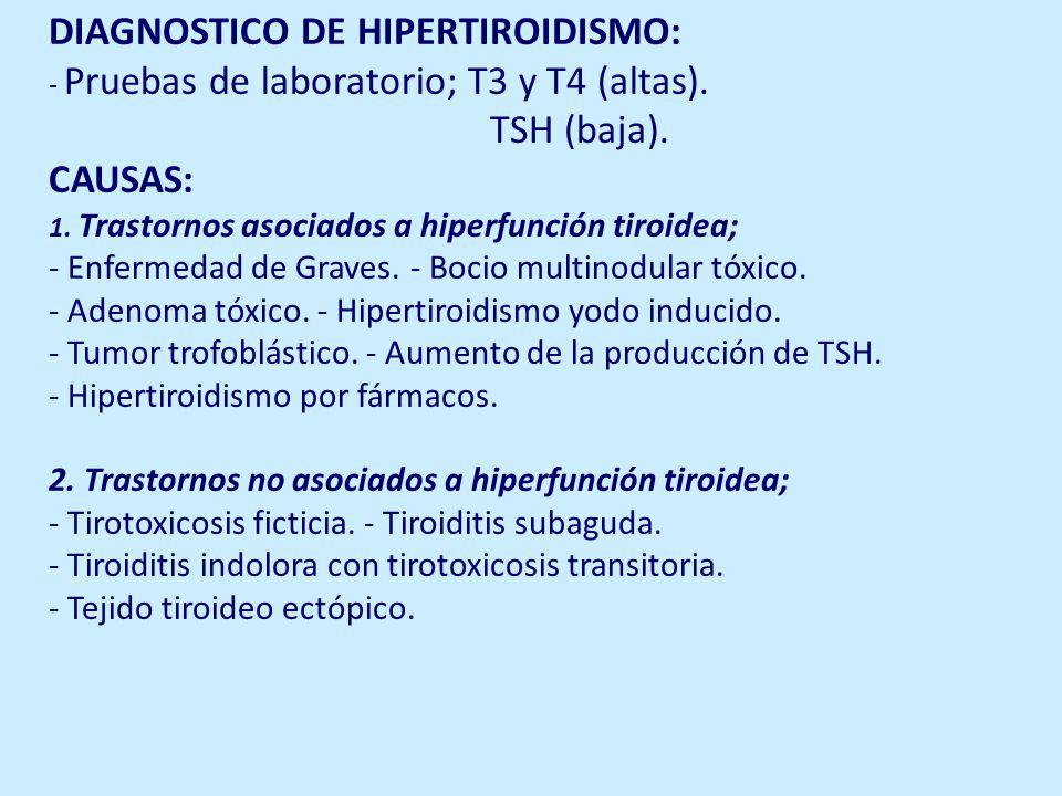 DIAGNOSTICO DE HIPERTIROIDISMO: - Pruebas de laboratorio; T3 y T4 (altas).
