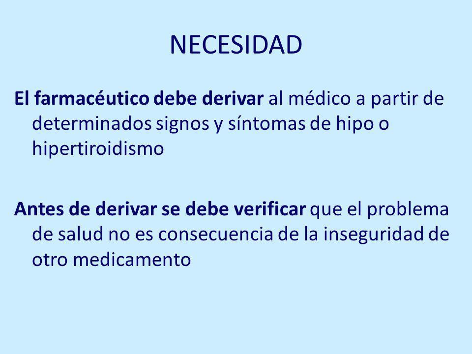 NECESIDAD El farmacéutico debe derivar al médico a partir de determinados signos y síntomas de hipo o hipertiroidismo.