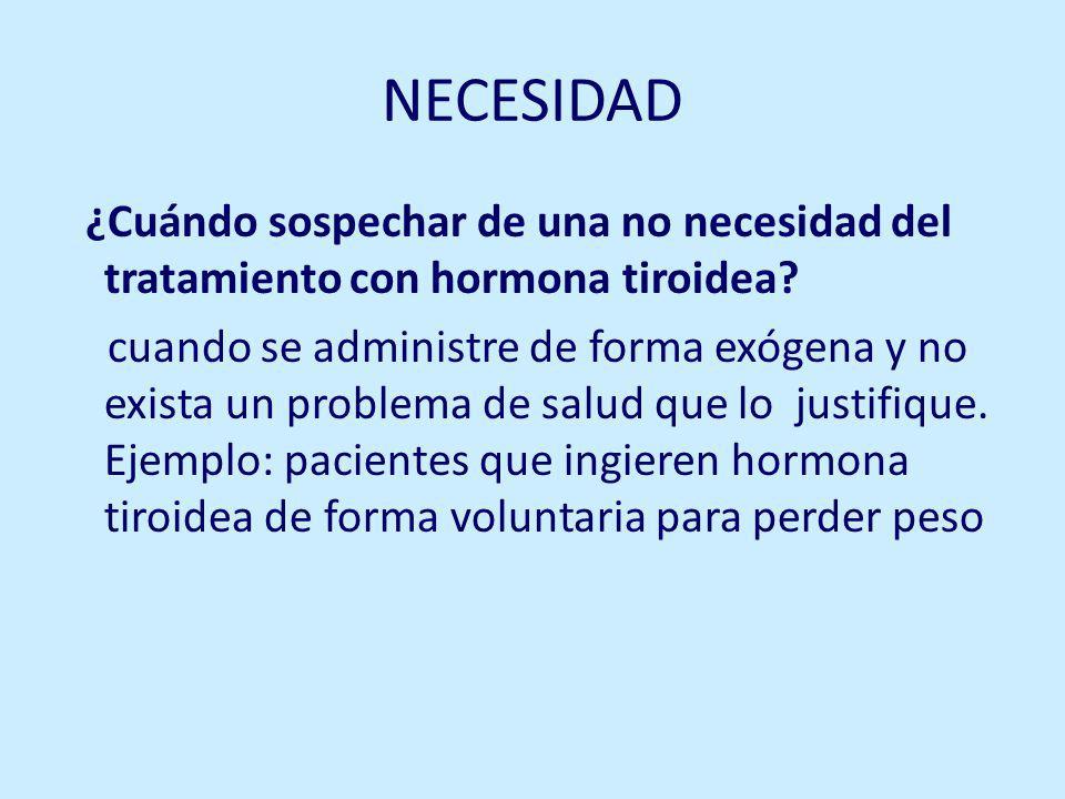 NECESIDAD ¿Cuándo sospechar de una no necesidad del tratamiento con hormona tiroidea