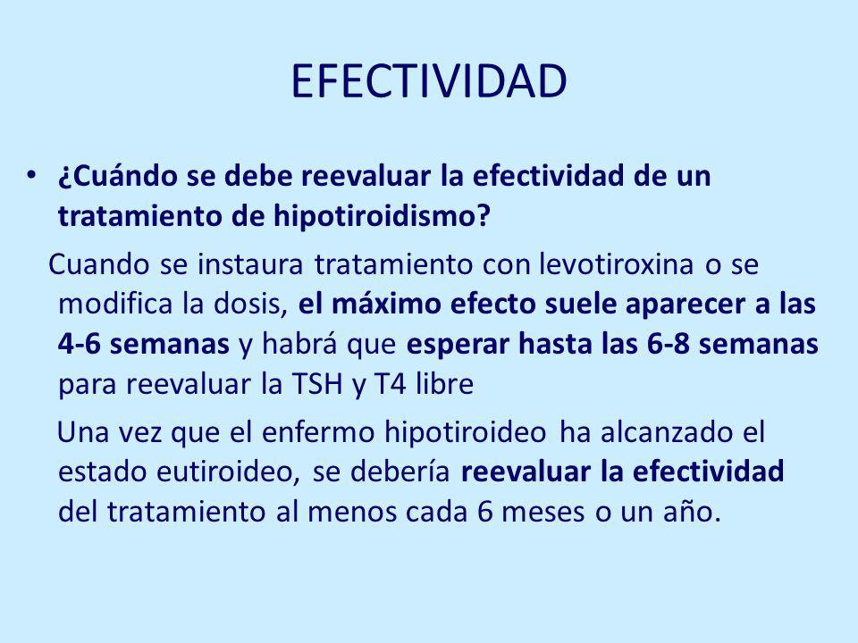 EFECTIVIDAD ¿Cuándo se debe reevaluar la efectividad de un tratamiento de hipotiroidismo