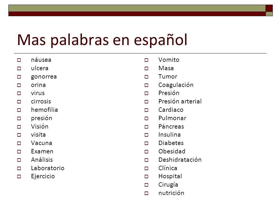 Mas palabras en español