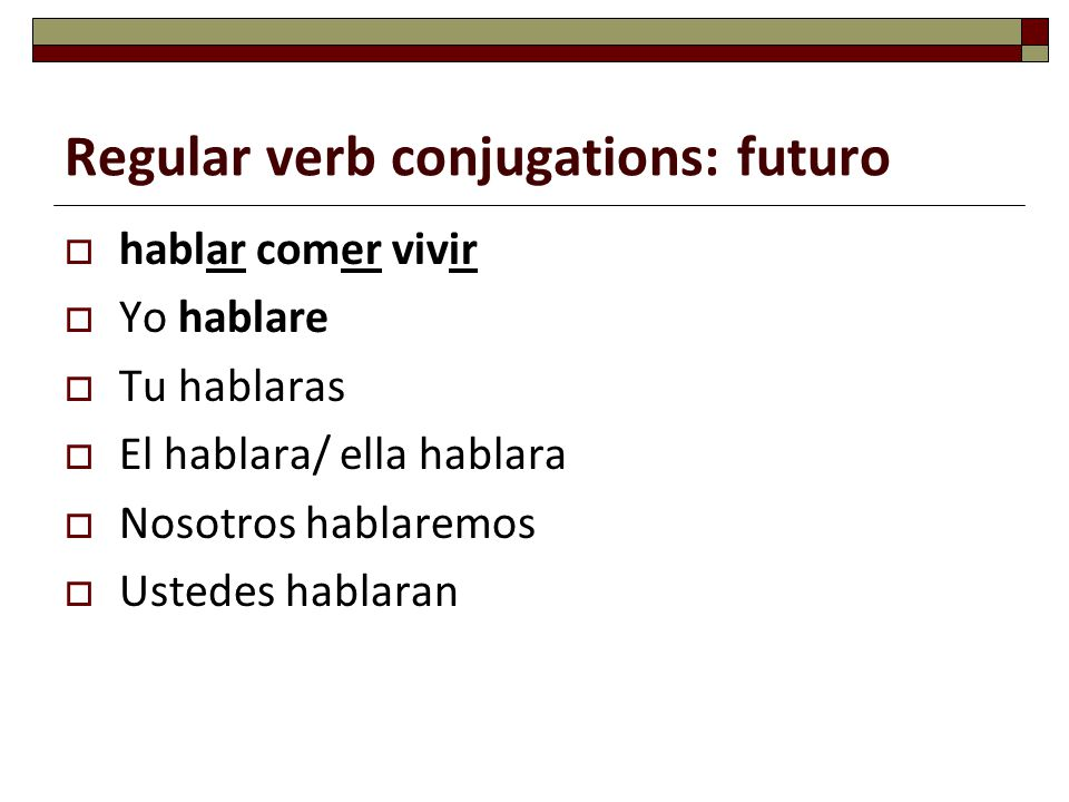 Regular verb conjugations: futuro