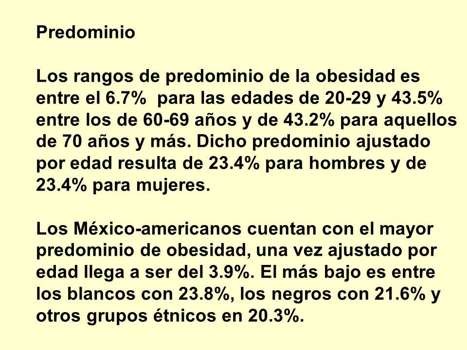 Predominio Los rangos de predominio de la obesidad es entre el 6