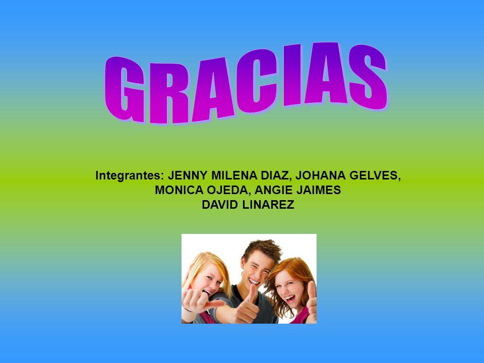 GRACIAS Integrantes: JENNY MILENA DIAZ, JOHANA GELVES, MONICA OJEDA, ANGIE JAIMES DAVID LINAREZ