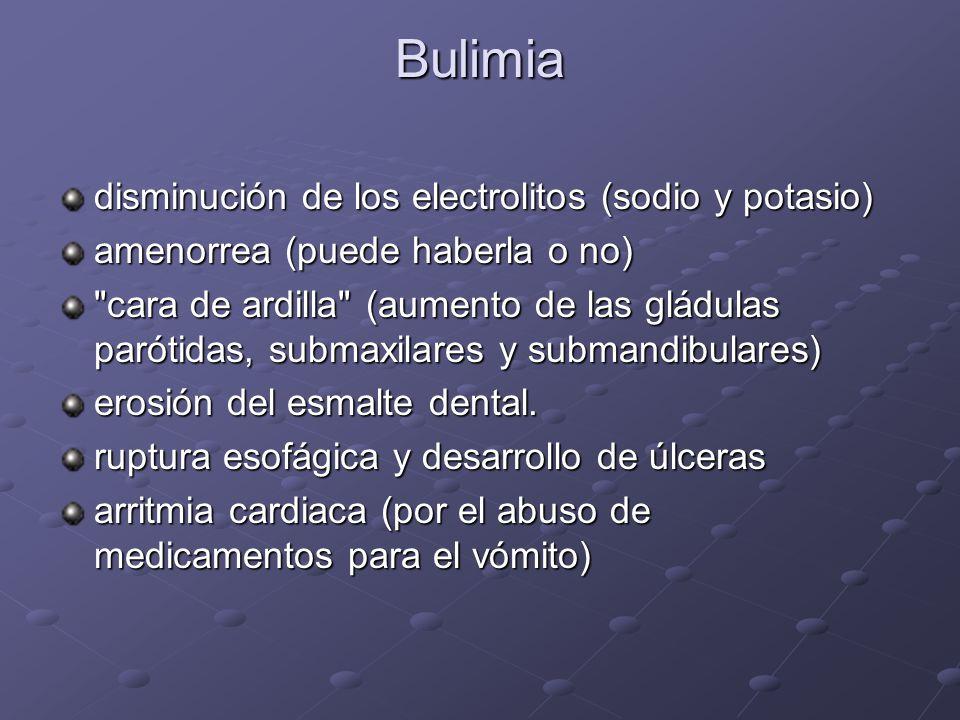 Bulimia disminución de los electrolitos (sodio y potasio)