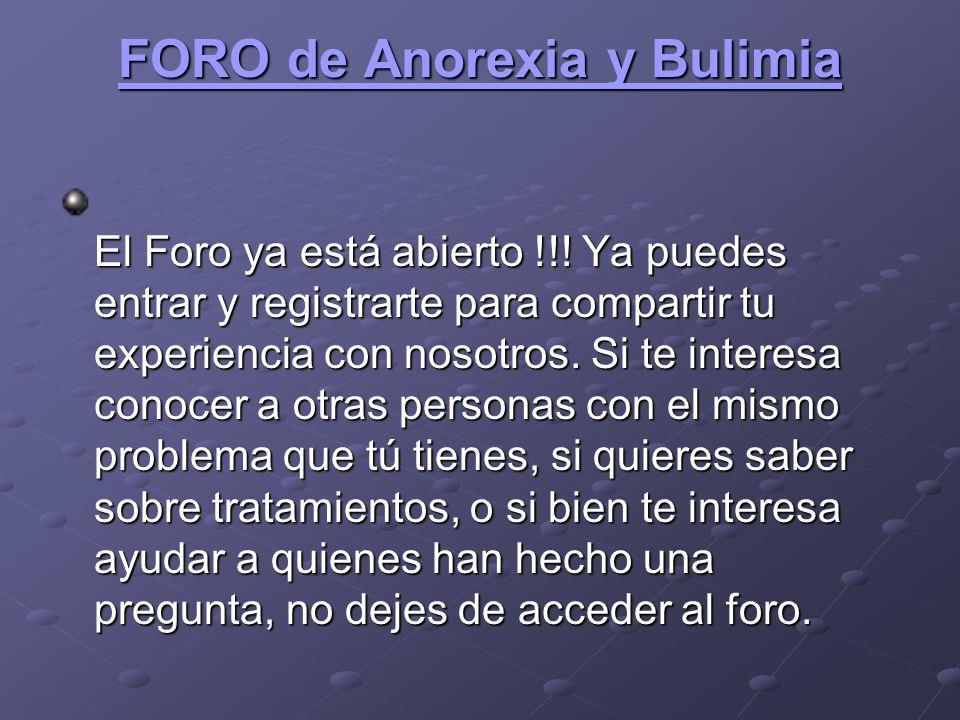 FORO de Anorexia y Bulimia
