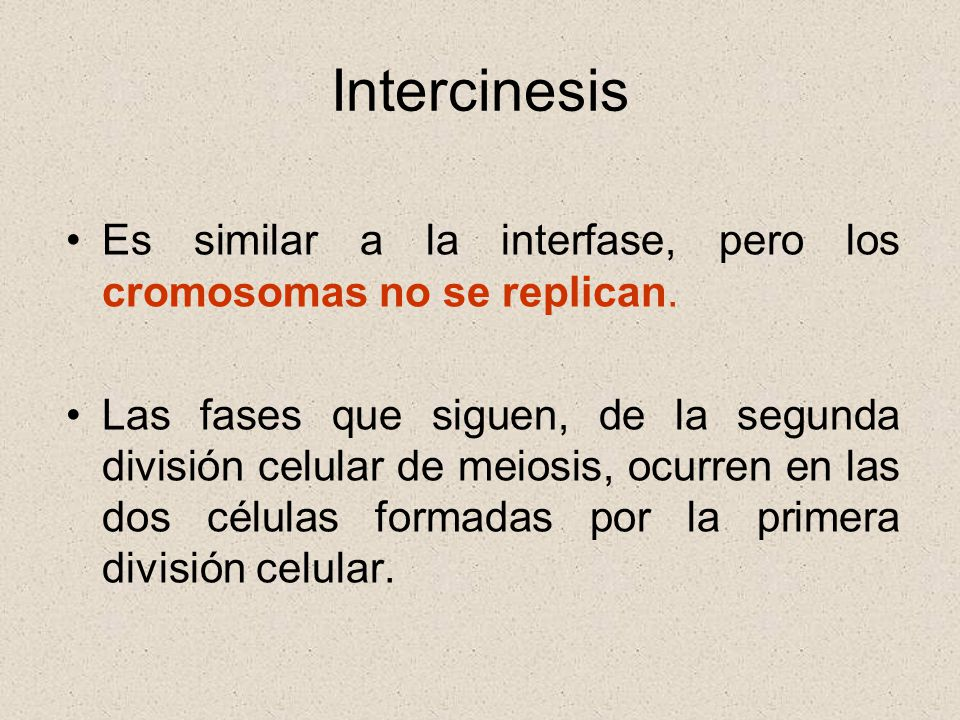 Intercinesis Es similar a la interfase, pero los cromosomas no se replican.