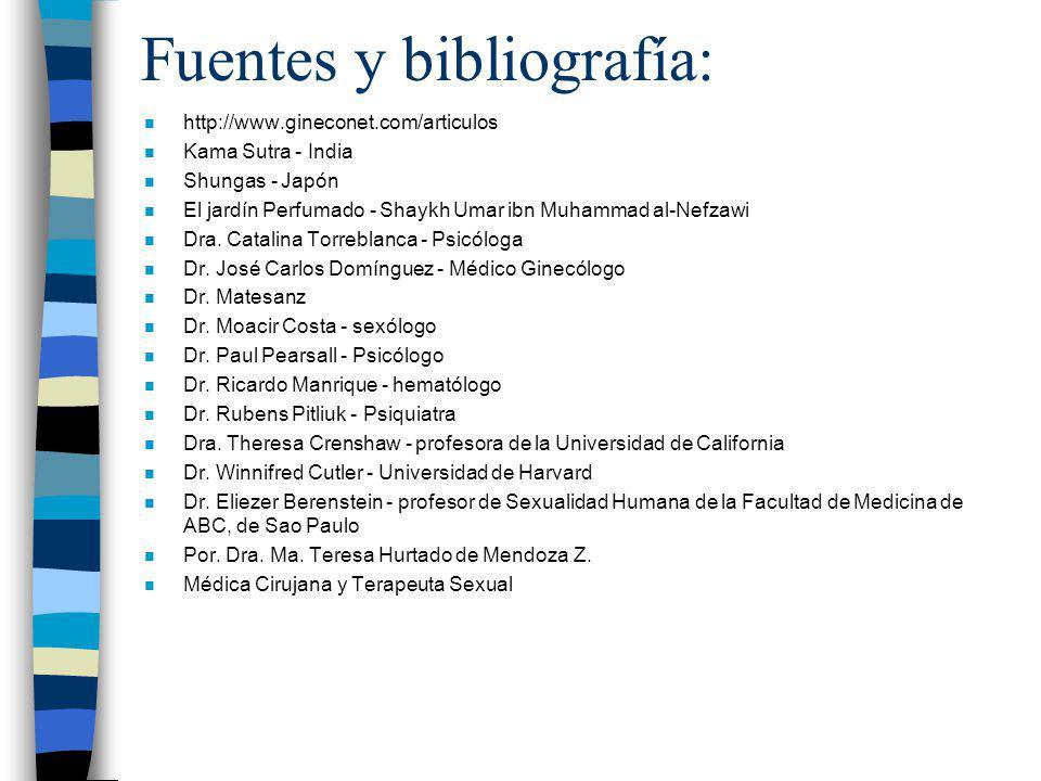 Fuentes y bibliografía: