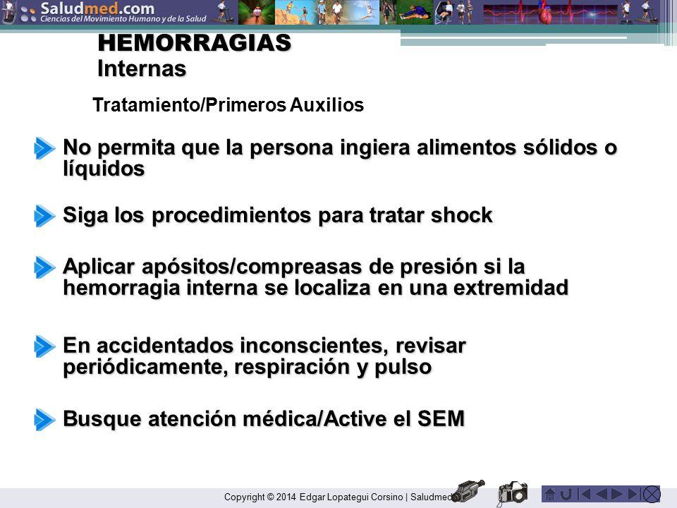 HEMORRAGIAS Internas. Tratamiento/Primeros Auxilios. No permita que la persona ingiera alimentos sólidos o líquidos.