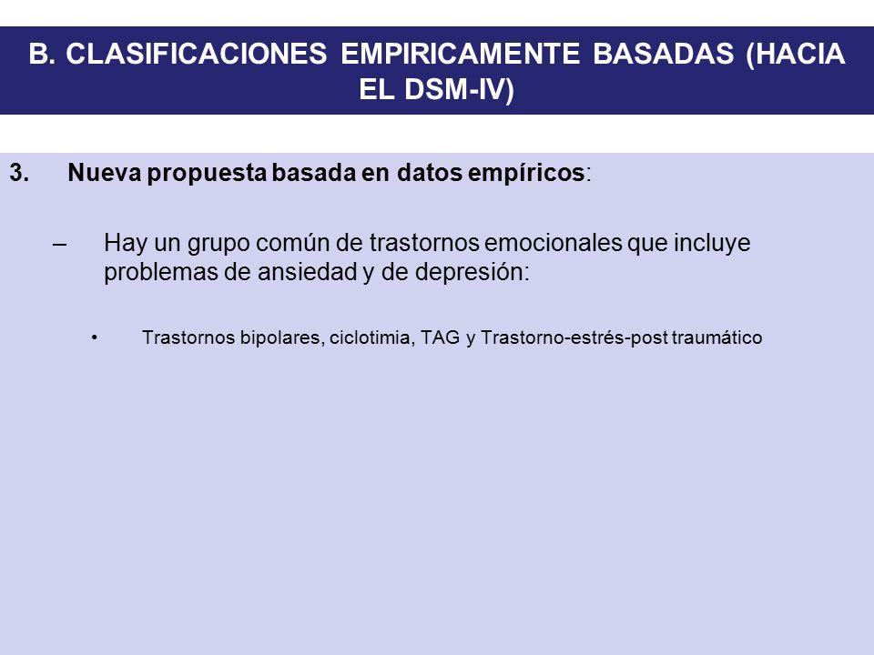 B. CLASIFICACIONES EMPIRICAMENTE BASADAS (HACIA EL DSM-IV)