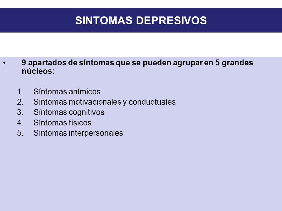 SINTOMAS DEPRESIVOS 9 apartados de síntomas que se pueden agrupar en 5 grandes núcleos: Síntomas anímicos.