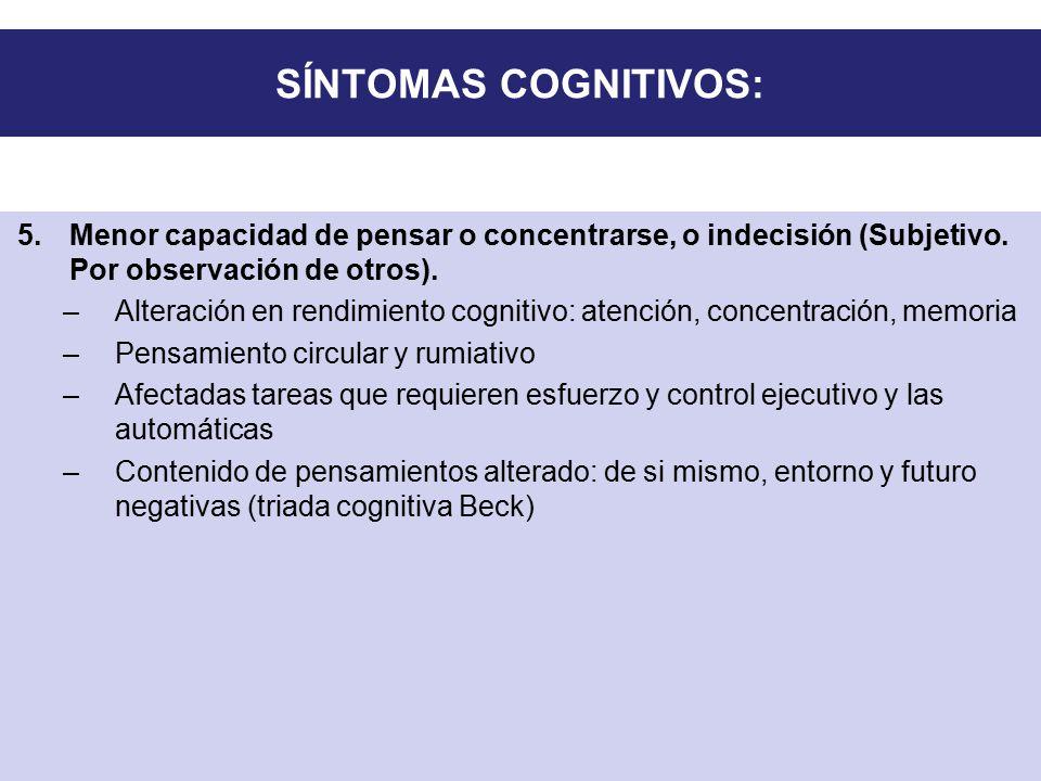 SÍNTOMAS COGNITIVOS: Menor capacidad de pensar o concentrarse, o indecisión (Subjetivo. Por observación de otros).