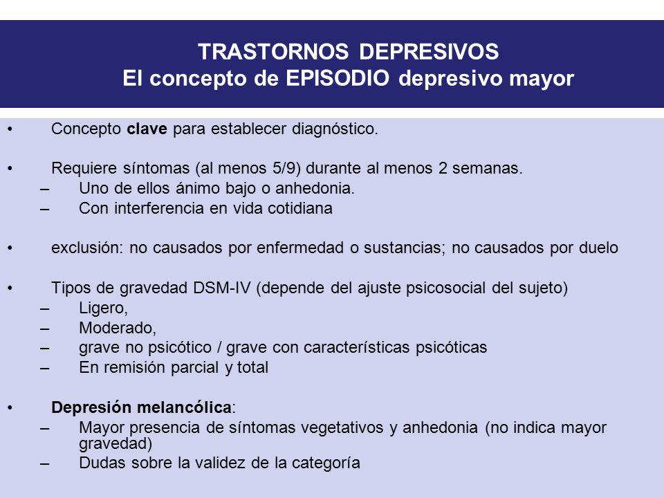 TRASTORNOS DEPRESIVOS El concepto de EPISODIO depresivo mayor