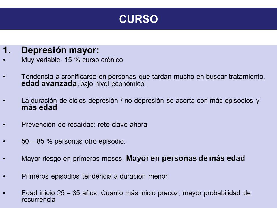 CURSO Depresión mayor: Muy variable. 15 % curso crónico