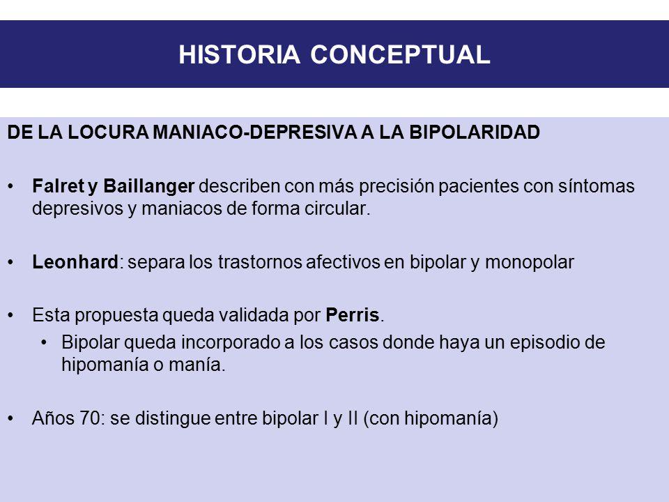 HISTORIA CONCEPTUAL DE LA LOCURA MANIACO-DEPRESIVA A LA BIPOLARIDAD