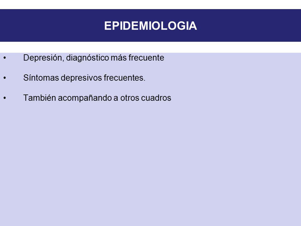 EPIDEMIOLOGIA Depresión, diagnóstico más frecuente