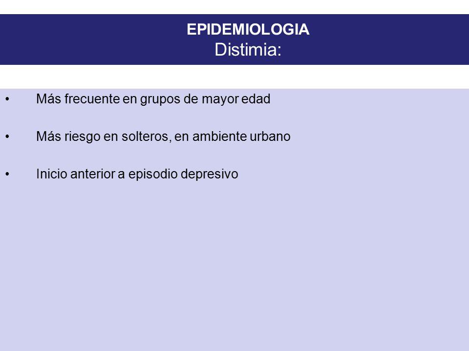 EPIDEMIOLOGIA Distimia: