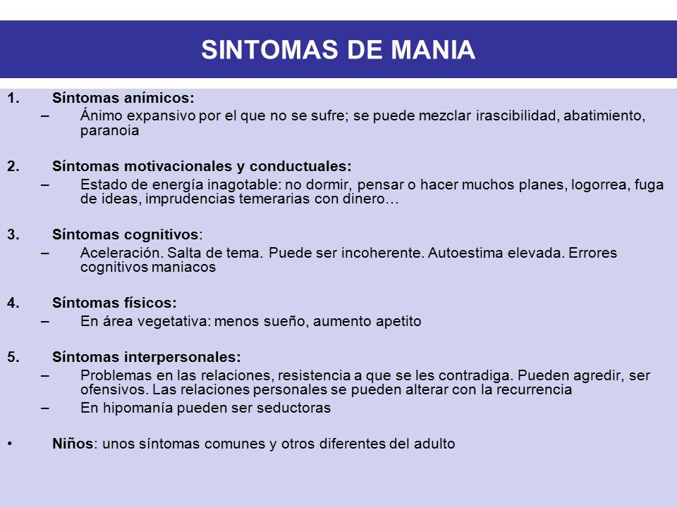 SINTOMAS DE MANIA Síntomas anímicos:
