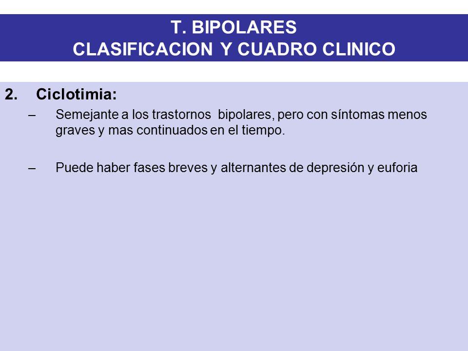 T. BIPOLARES CLASIFICACION Y CUADRO CLINICO
