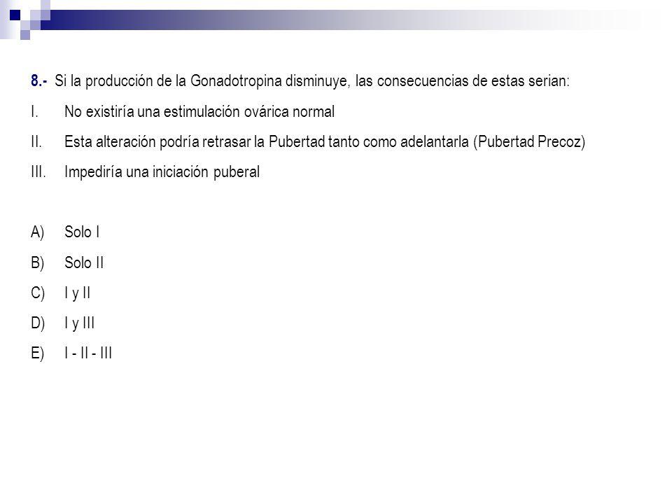 8.- Si la producción de la Gonadotropina disminuye, las consecuencias de estas serian: