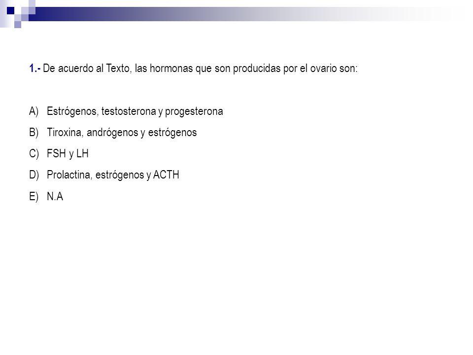 1.- De acuerdo al Texto, las hormonas que son producidas por el ovario son: