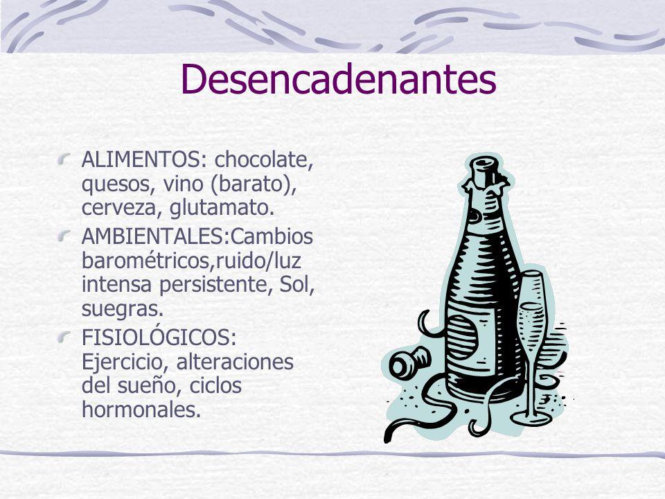 Desencadenantes ALIMENTOS: chocolate, quesos, vino (barato), cerveza, glutamato.