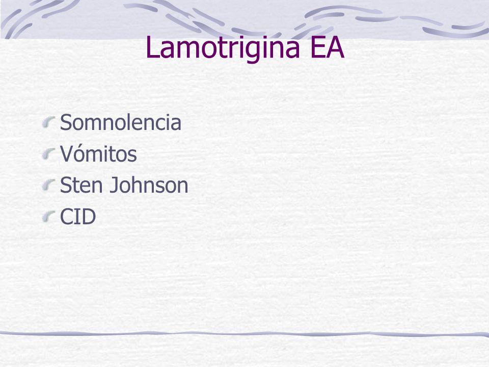 Lamotrigina EA Somnolencia Vómitos Sten Johnson CID