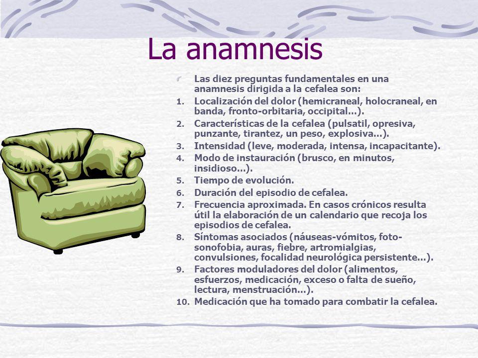 La anamnesis Las diez preguntas fundamentales en una anamnesis dirigida a la cefalea son: