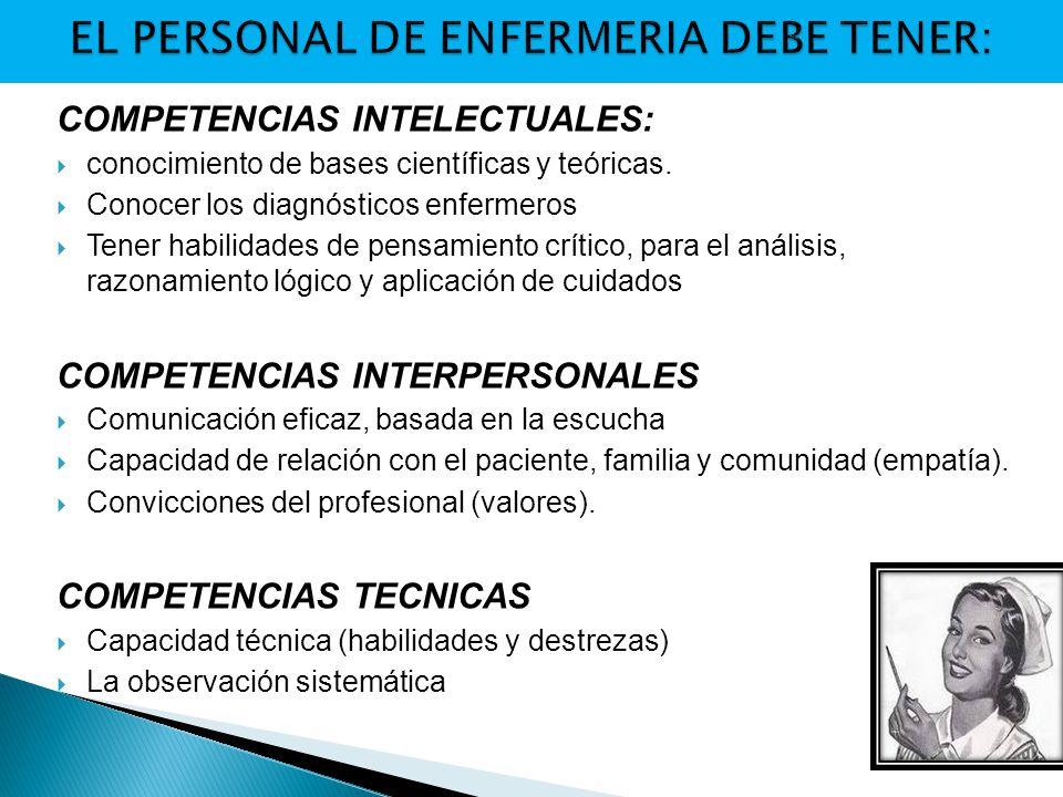 EL PERSONAL DE ENFERMERIA DEBE TENER: