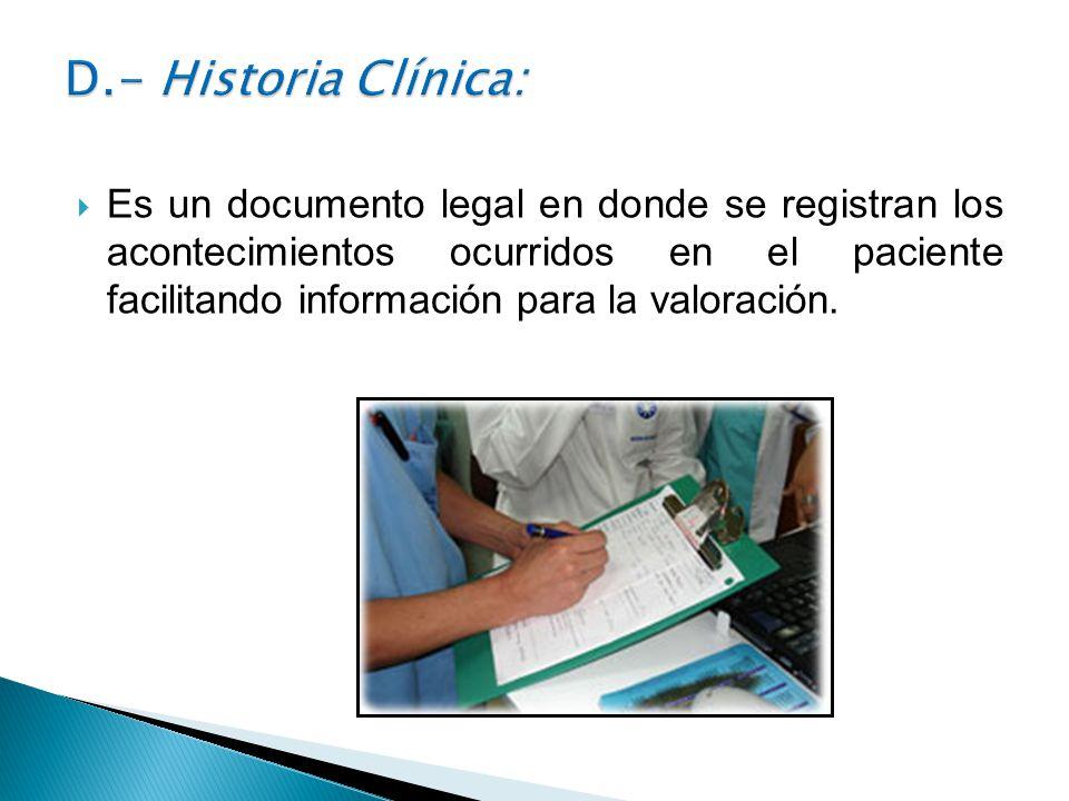 D.- Historia Clínica: